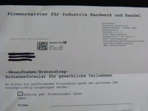 Firmenregister für Industrie Handwerk und Handel